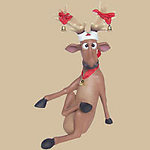 FUNNY REINDEER SITTING WITH CROSSLEGS 2FT