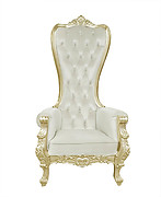 Baroque Throne Chair Queen High Back Chair In Beige Velvet