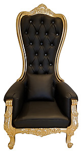 Queen Throne High Back Chair in Black Leather Gold Frame
