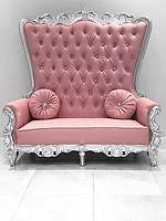 Double High Back Queen Throne Chair in Pink Leather and Silver Foil Frame