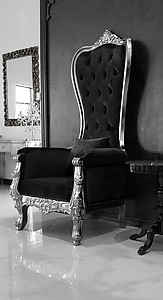 Baroque Throne Chair Queen High Back Chair Black Velvet and Silver