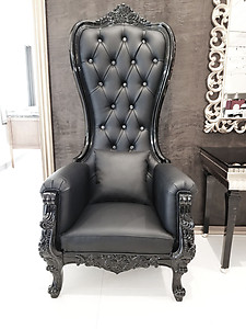Baroque Throne Chair Queen High Back Chair Black Leather And Frame