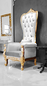 Merveilleux Baroque Throne Chair Queen High Back Chair White Leather And Gold