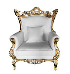 Terra Baroque Rolled Arm Chair White Leather with Gold Frame