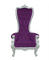Baroque Throne Chair Queen High Back Chair Purple Velvet and Silver