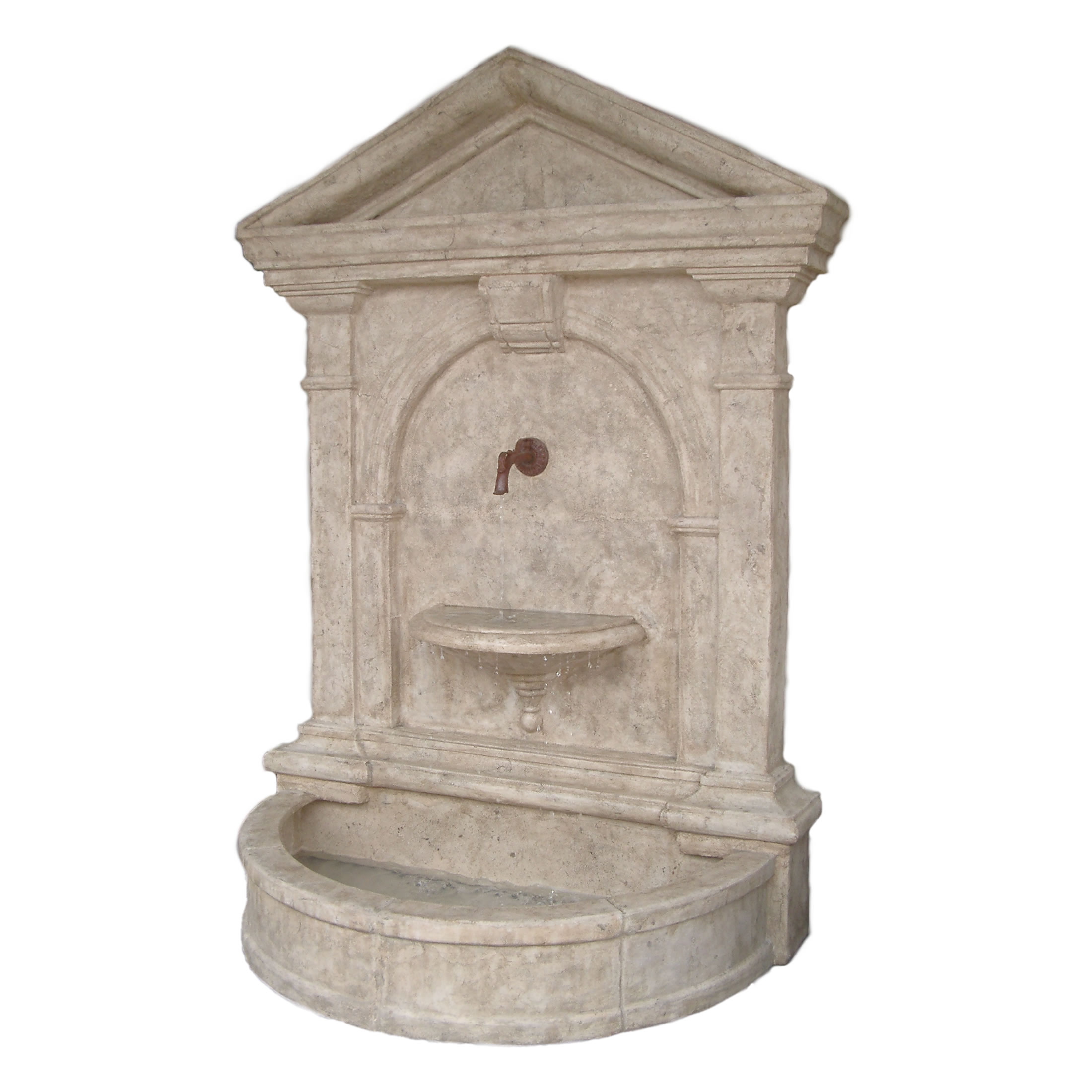 florentine wall fountain roman stone finish