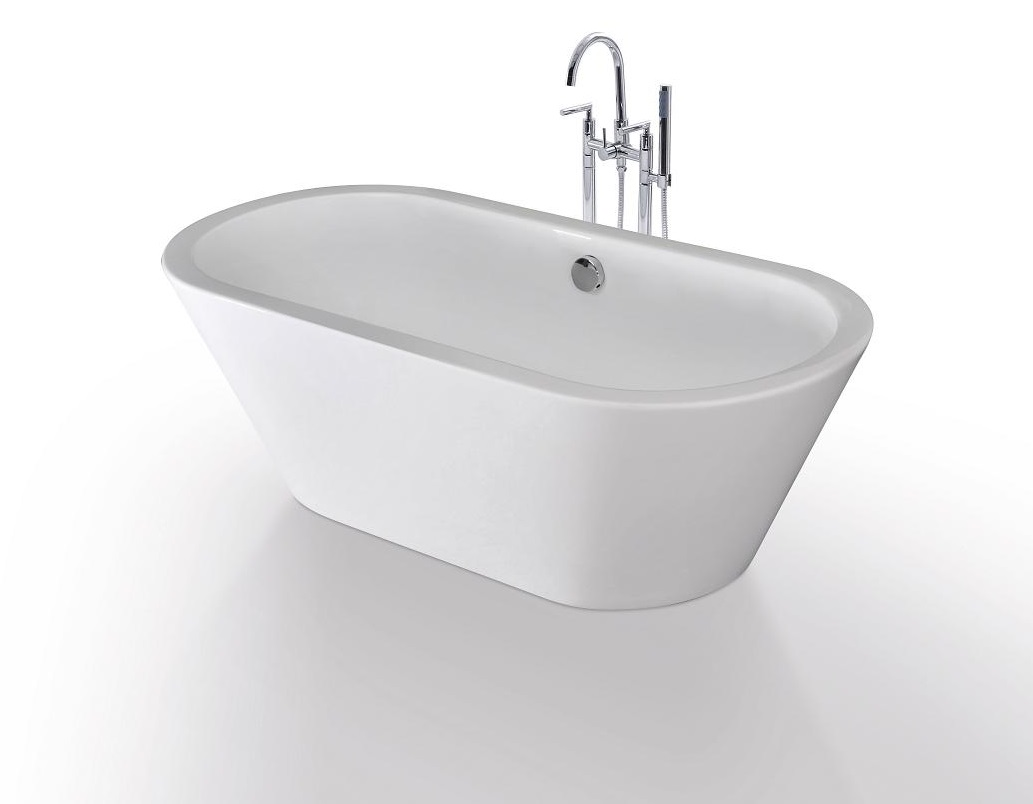 Amadeo acrylic modern freestanding soaking bathtub 63 for Acrylic soaker tub