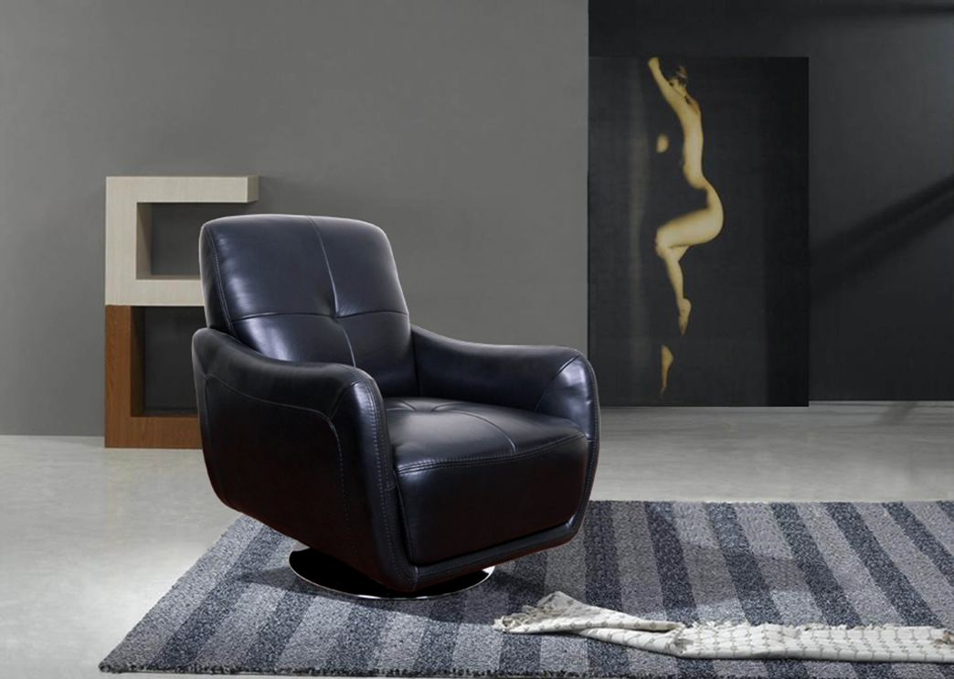 Full leather chair modern living room swivel chair leather chair w chrome ebay for Swivel chairs for living room contemporary