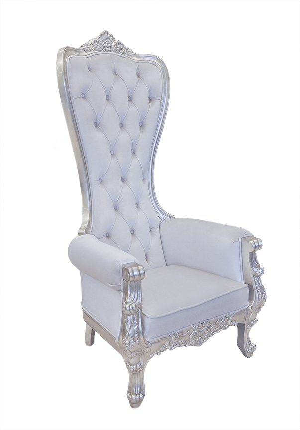 Beau Baroque Throne Chair Queen High Back Chair White Velvet And Silver