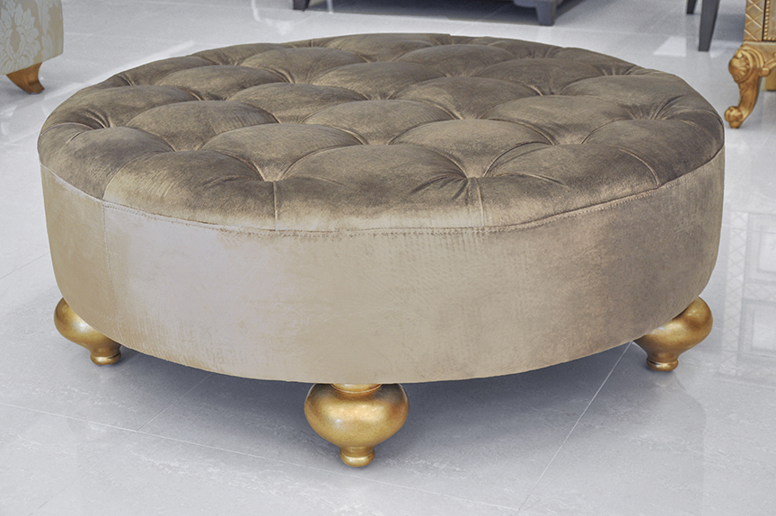Magnificent Large Round Velvet Ottoman Jafari Ghola Gmtry Best Dining Table And Chair Ideas Images Gmtryco