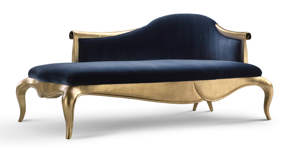 Serena chaise lounge sofa blue for Blue chaise lounge