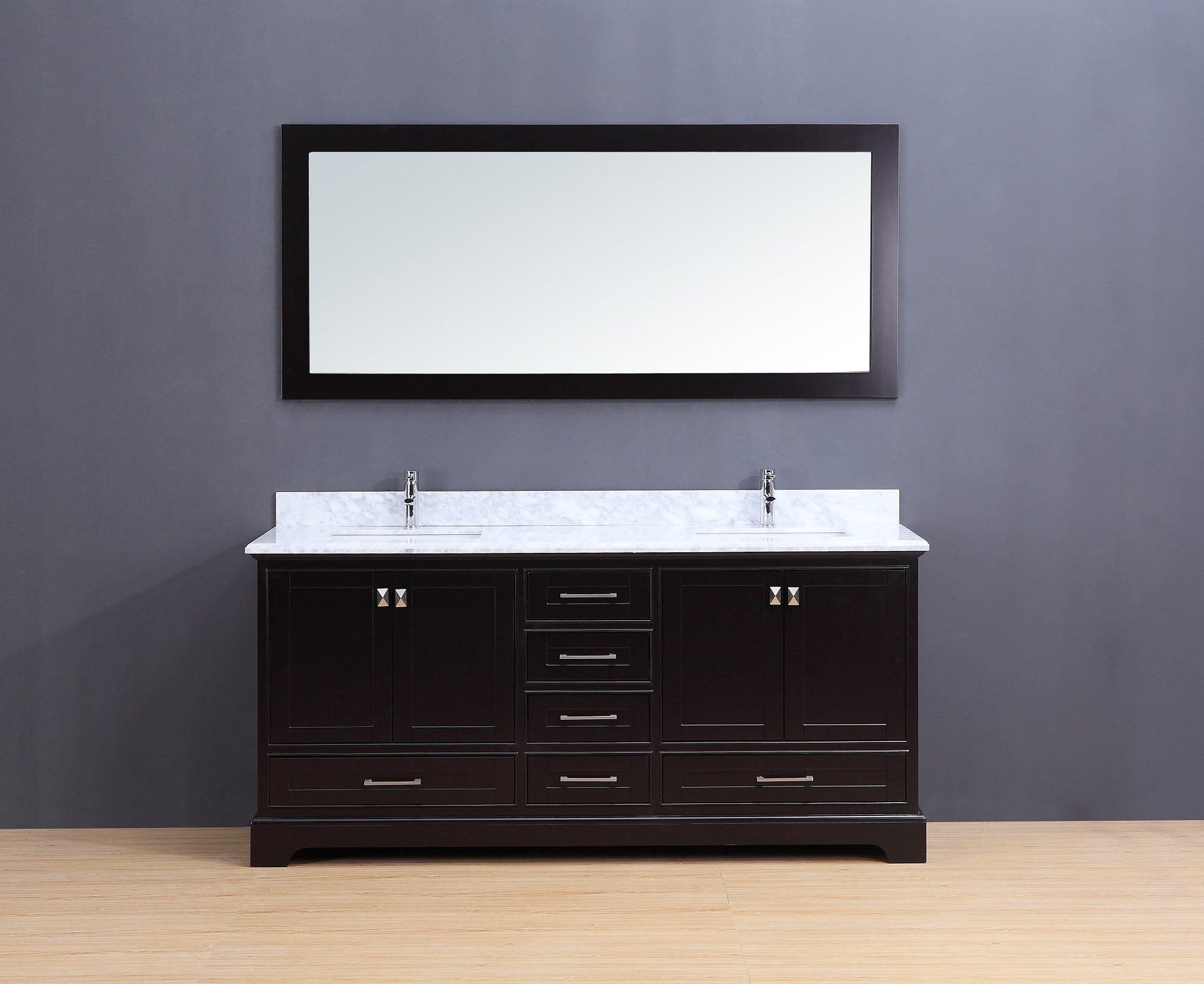 Cesano Transitional Bathroom Vanity Set With Carrera Marble Top