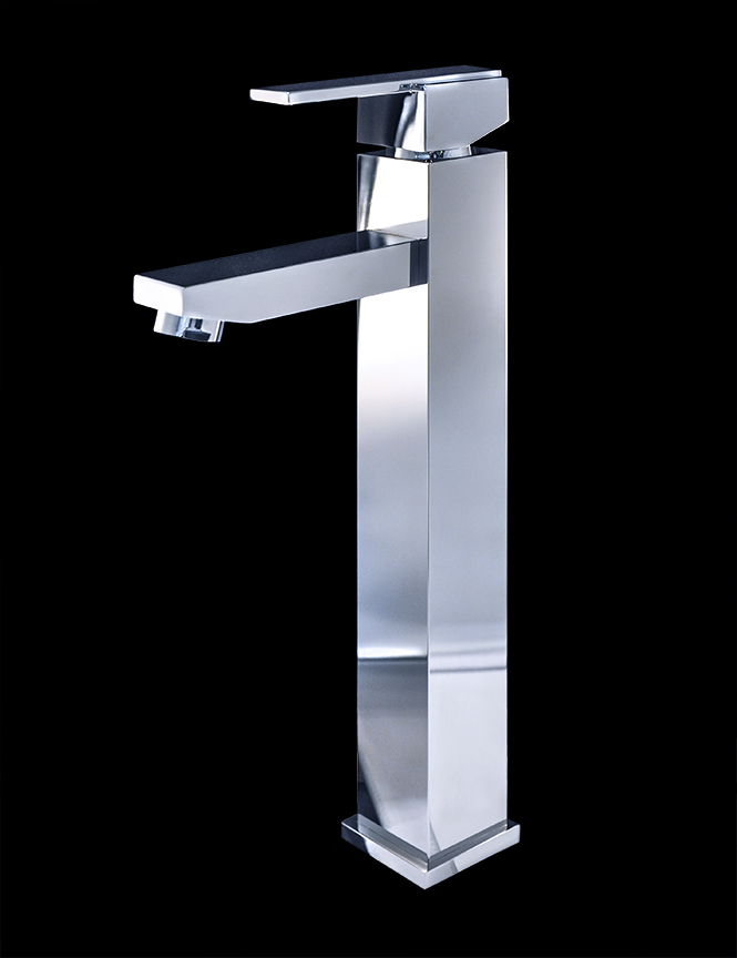 Treviolo chrome finish modern bathroom faucet for Modern bathroom fixtures