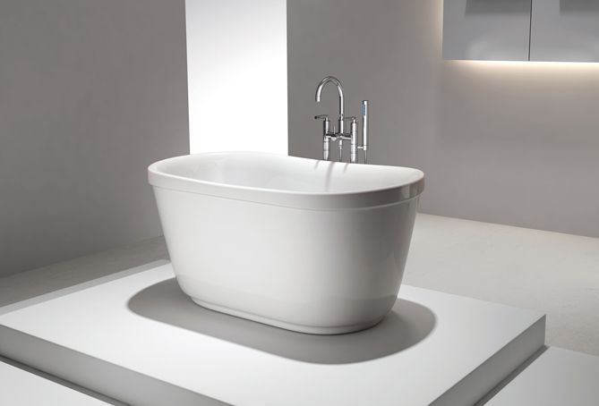 Floriello acrylic freestanding soaking bathtub 51 for Acrylic soaker tub