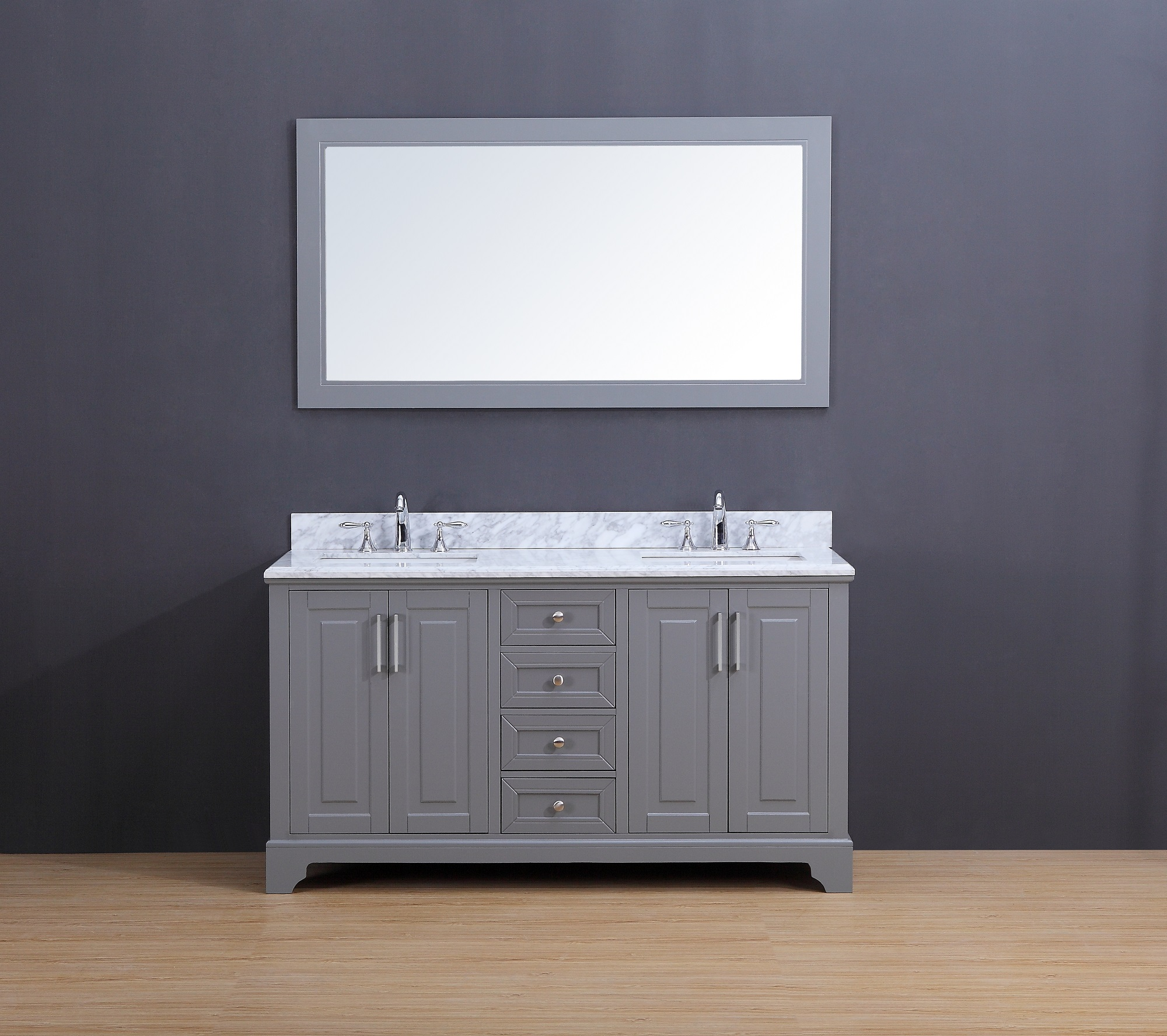 Franklin Transitional Bathroom Vanity Set With Carrera Marble Top Gray 60