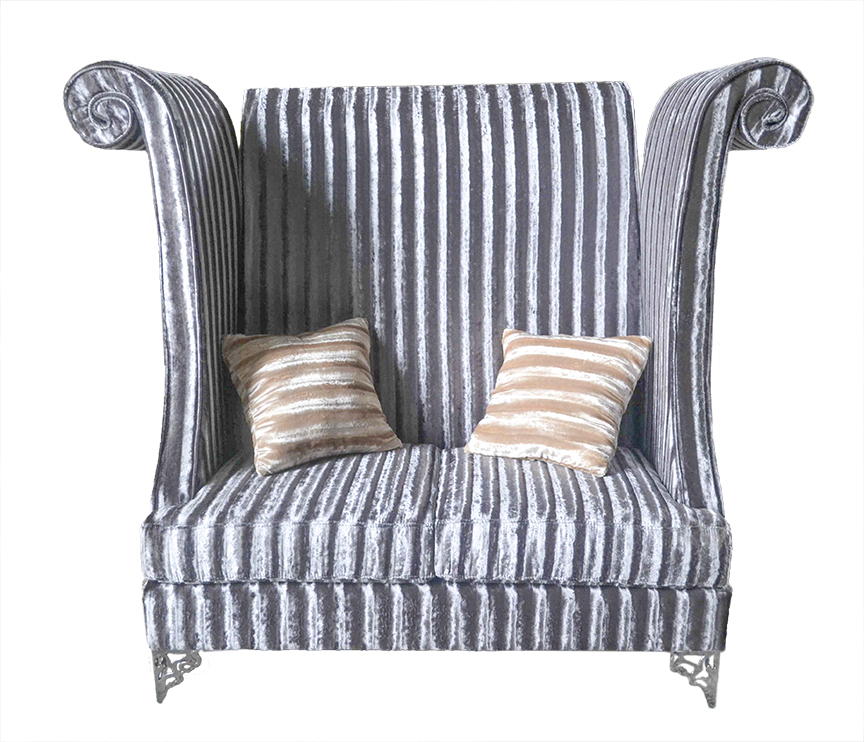 Click To See Larger Image Double High Back Chair Savoy Silver Gray