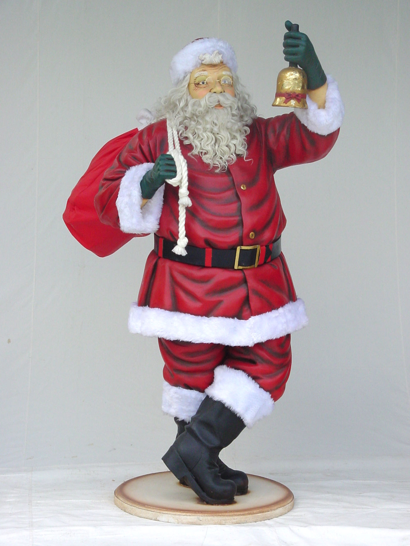 Santa claus with bell statue christmas decor life size 6ft for Santa decorations