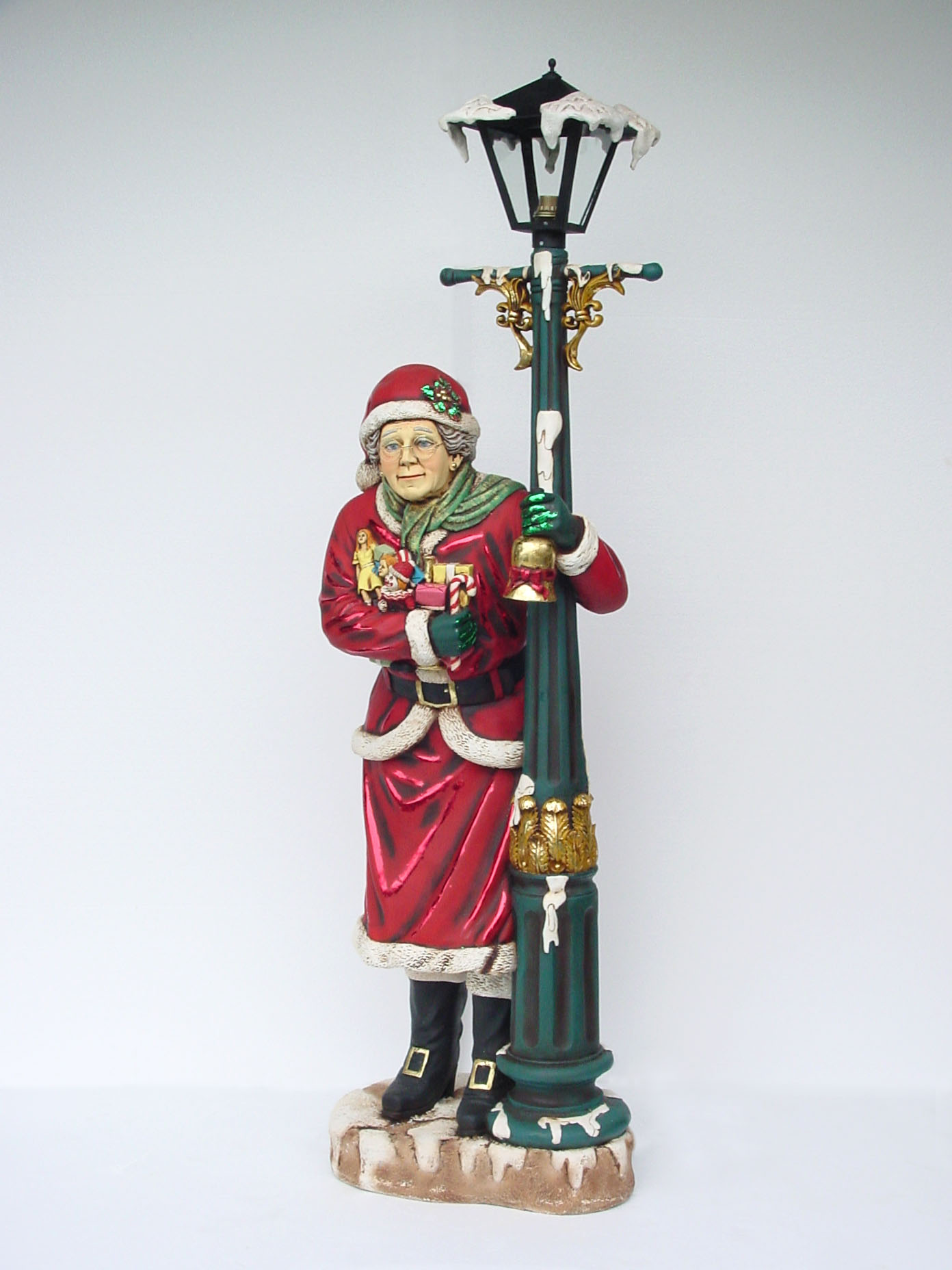 Mrs Santa Claus Statue Lamp Post Christmas Decor Life Size 6FT