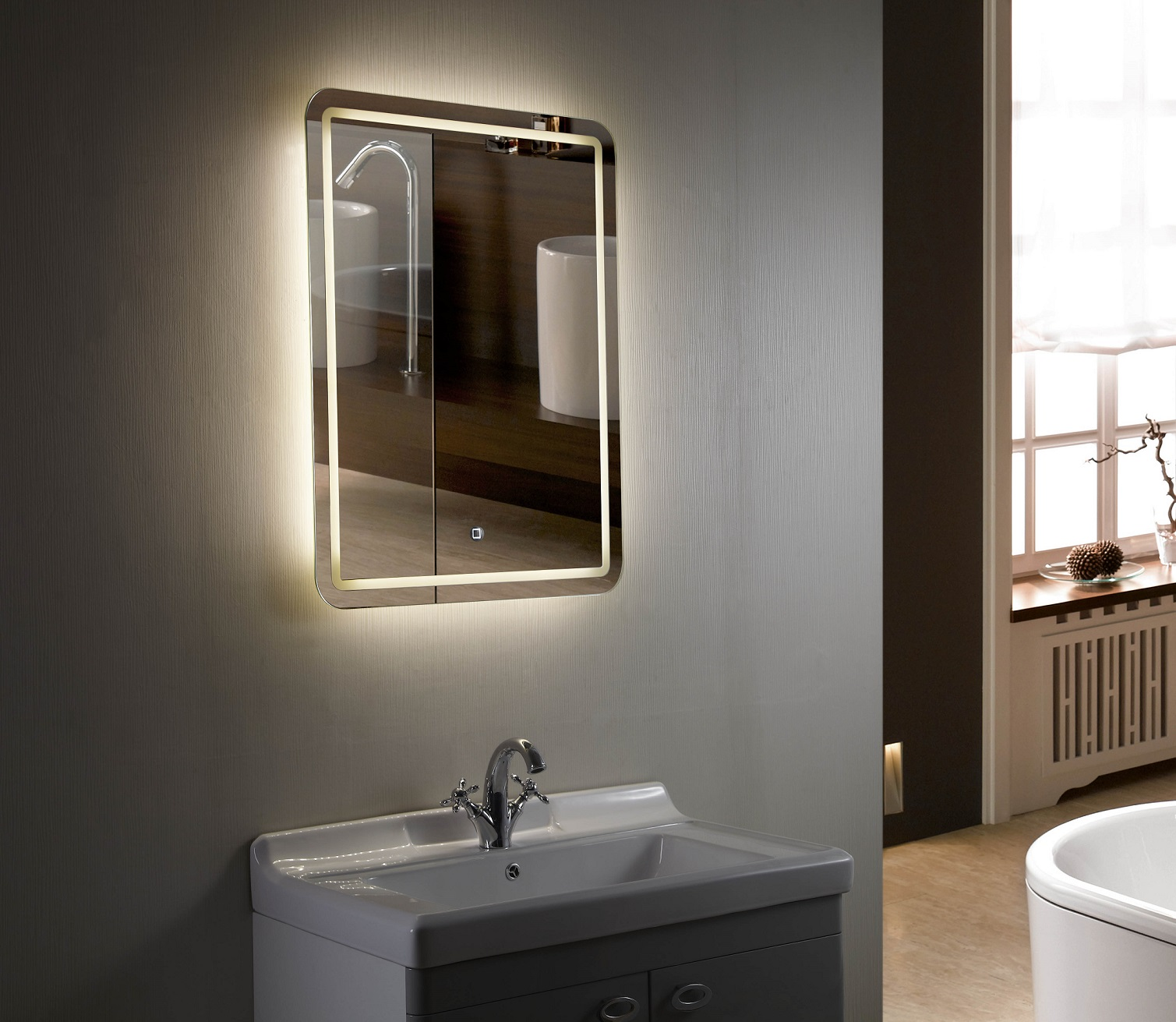 Backlit mirror led bathroom mirror bellagio Bathroom lighted vanity mirrors