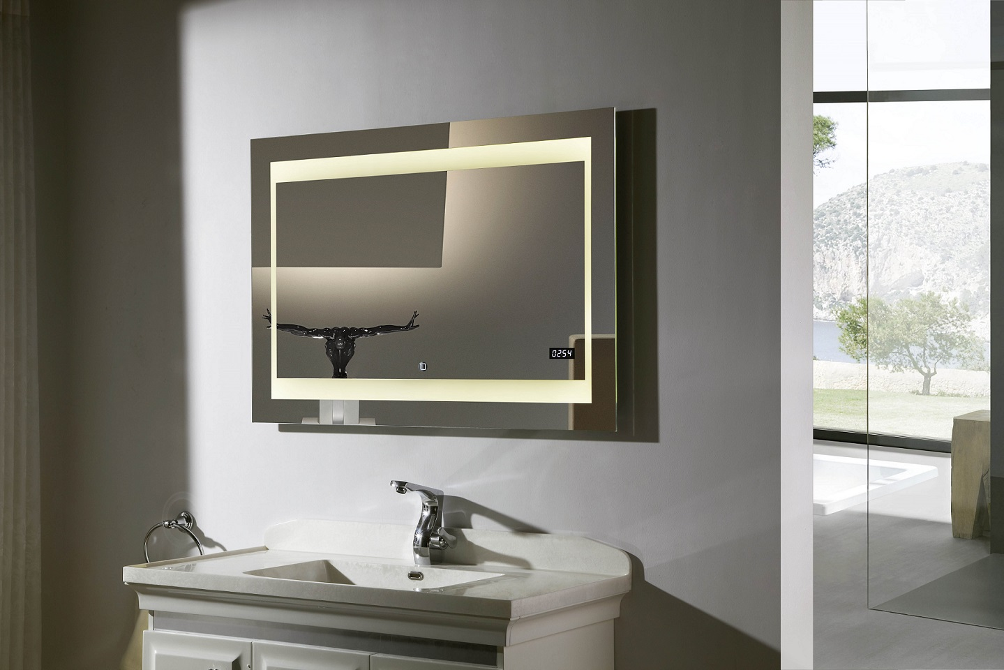Zen ii lighted vanity mirror led bathroom mirror for Vanity mirrors for bathroom ideas