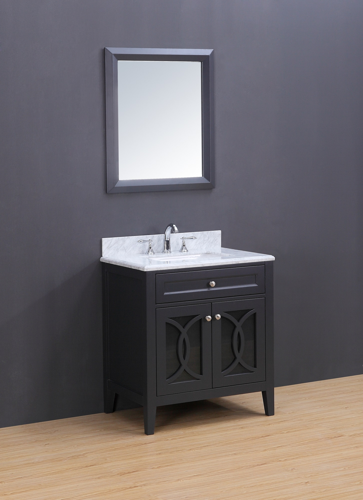 Rocca Transitional Bathroom Vanity Set With Carrera Marble Top Charcoal 30