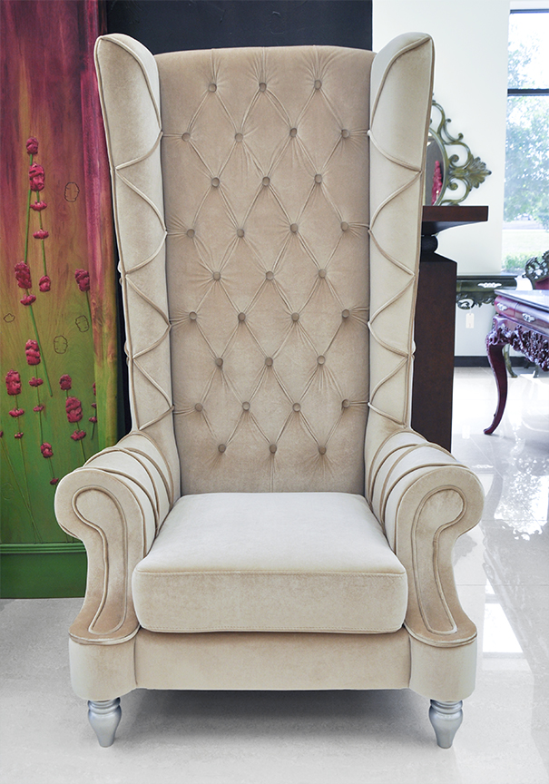 baroque high back chair beige chair. Black Bedroom Furniture Sets. Home Design Ideas