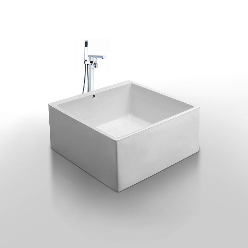 Diamante acrylic freestanding soaking square bathtub 55 for Acrylic soaker tub