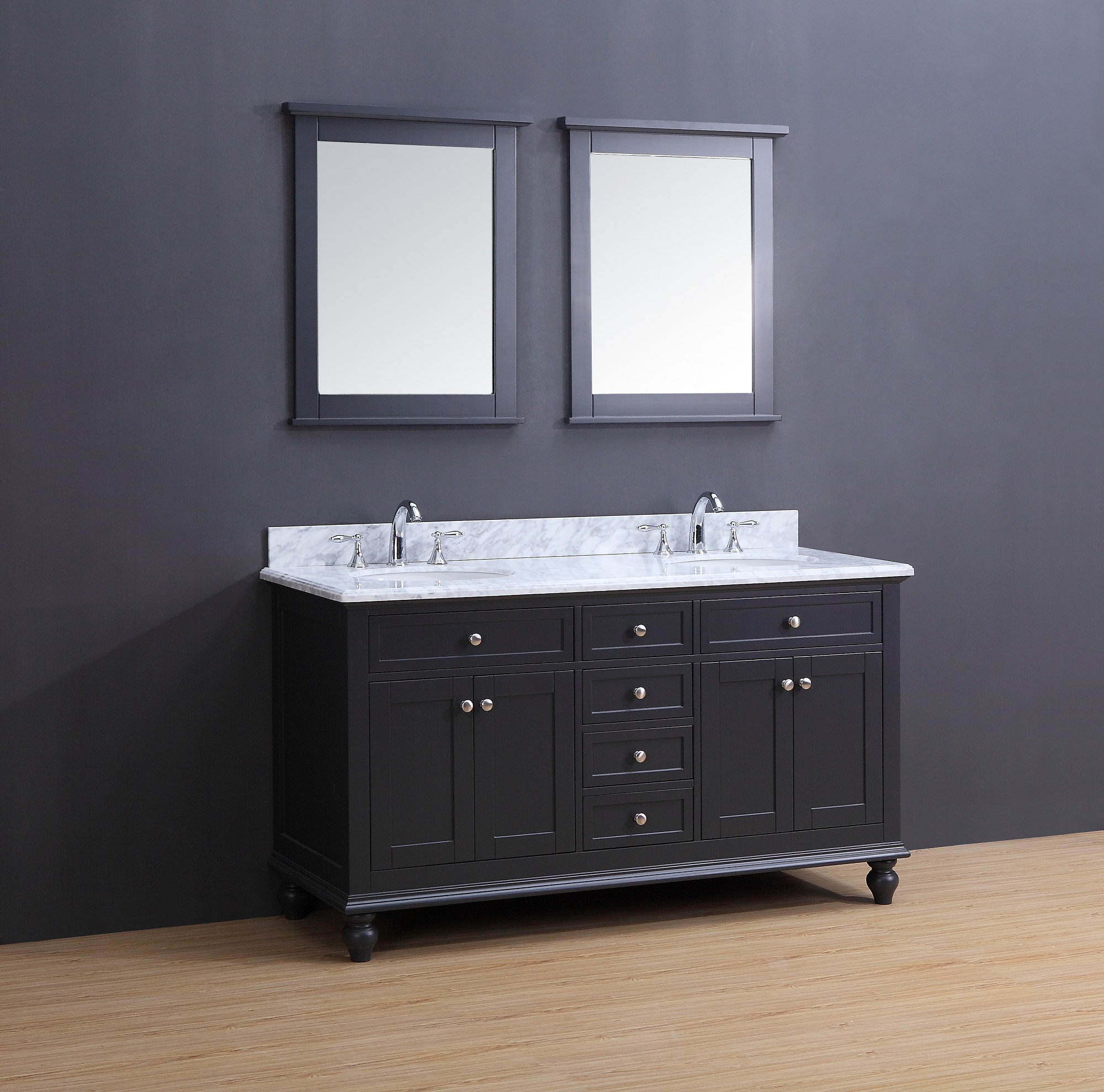 Madison Transitional Bathroom Vanity Set With Carrera Marble Top Charcoal Gray 60