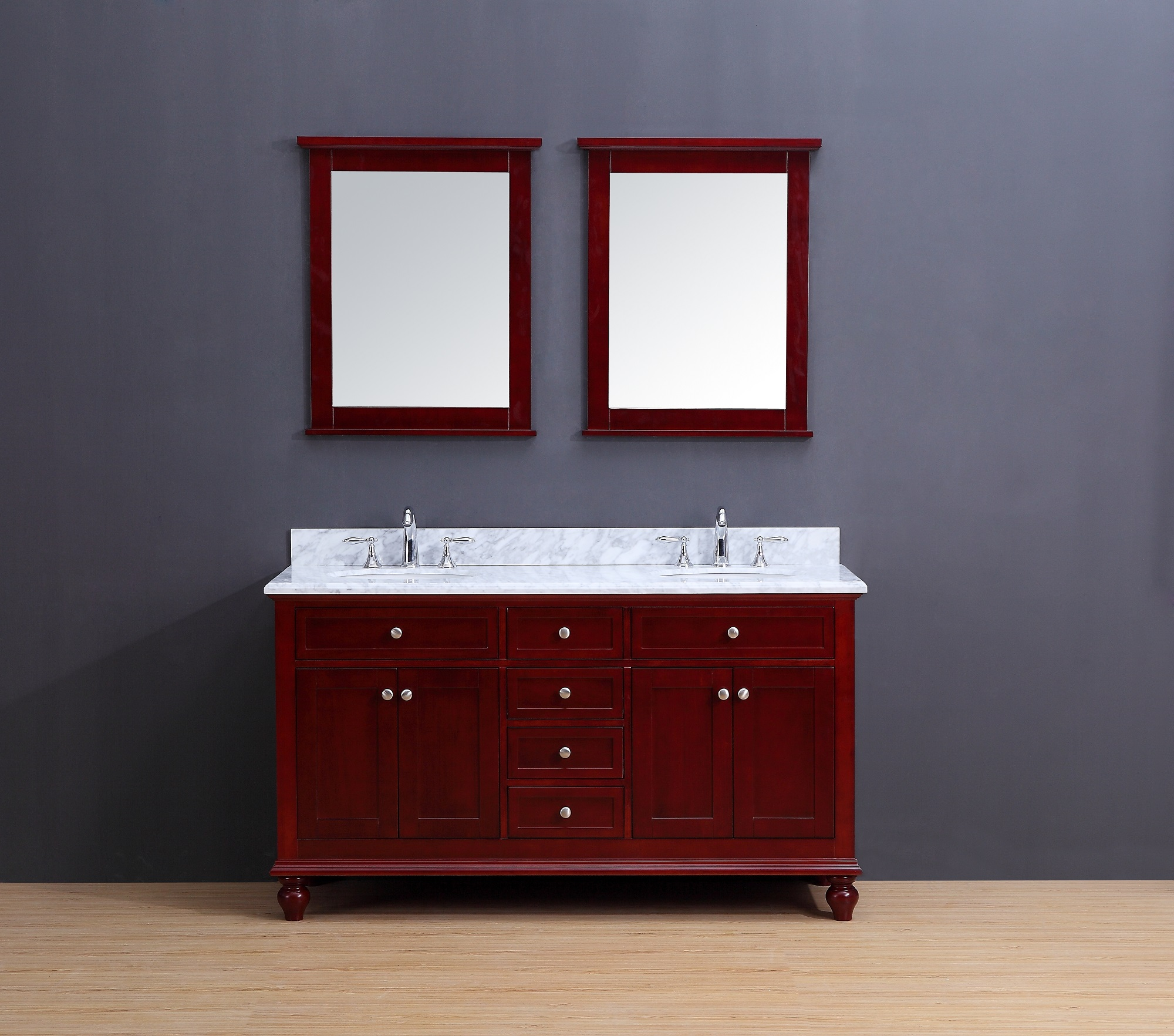 Madison Transitional Bathroom Vanity Set With Carrera Marble Top Cherry 60