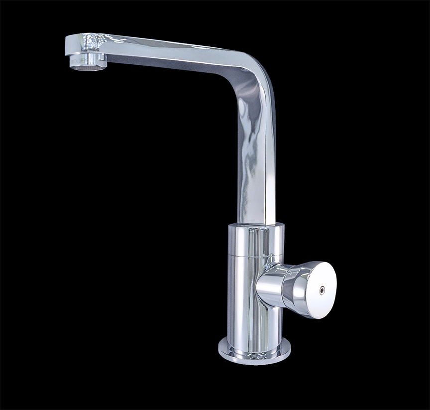 Valencia chrome finish modern bathroom faucet for Modern bathroom fixtures