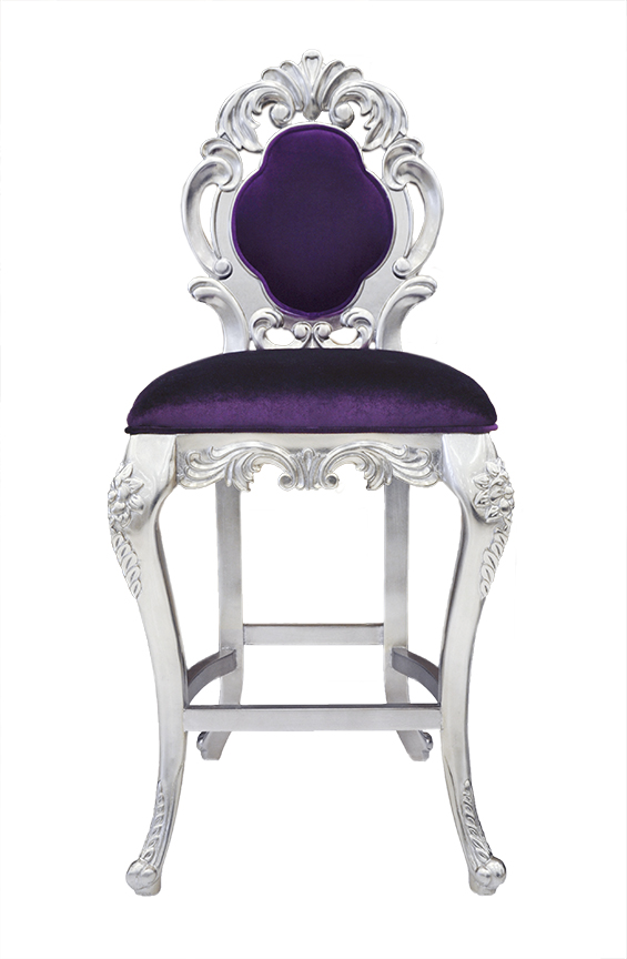 Colette Modern Bar Stool Purple Velvet