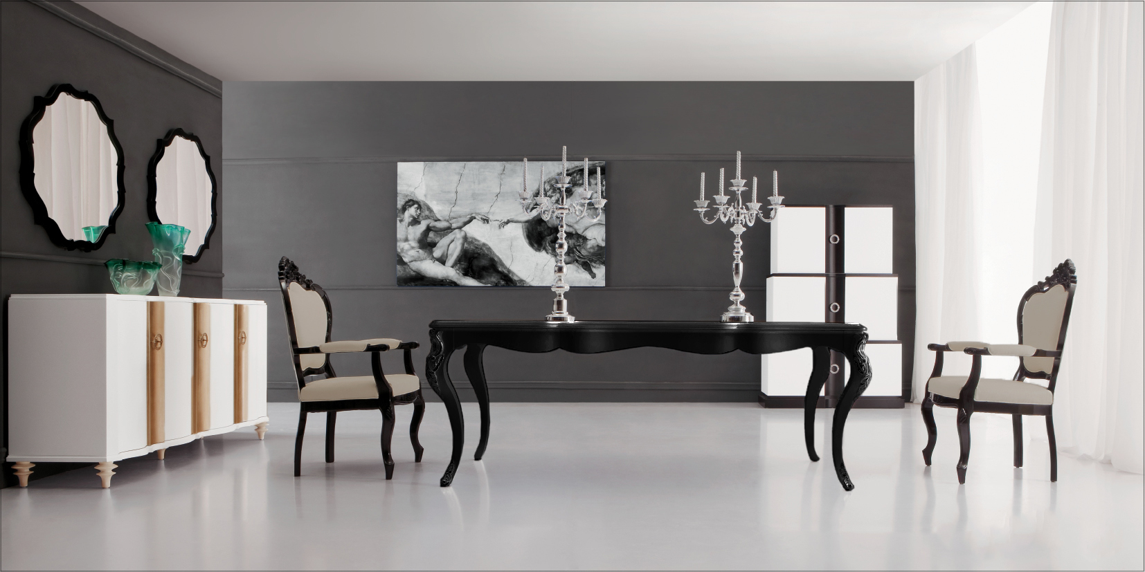 Ebony dining table 93774 more details black dining table for Modern black dining table