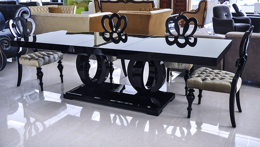 Modern dining table black dining table camila for Modern black dining table