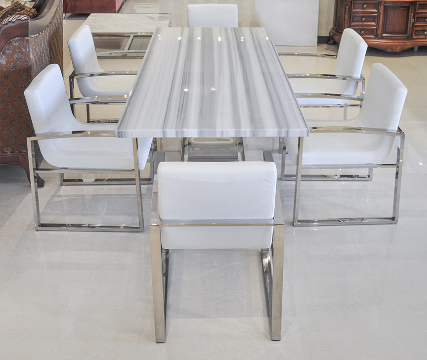 Uscio iv marble dining table 79 white lines for Modern marble dining table