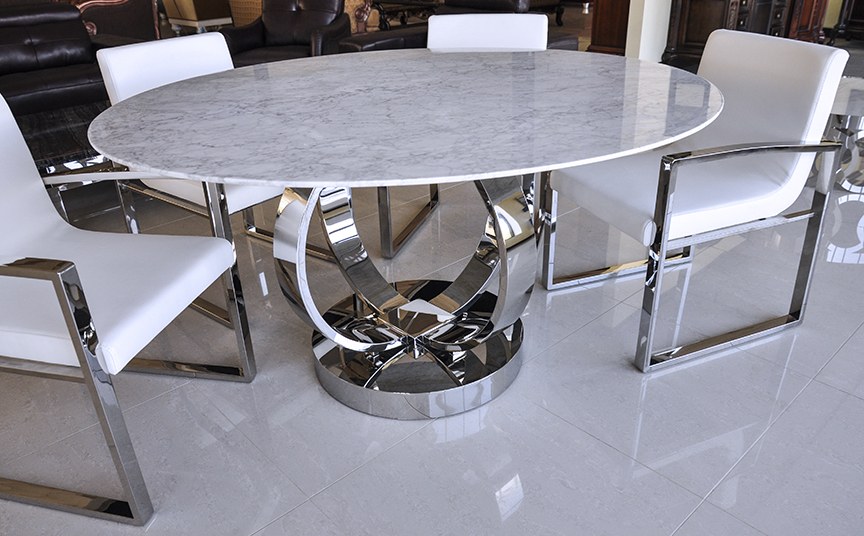 Click To See Larger Image · Cerchio Modern Round White Volakas Marble  Dining Table