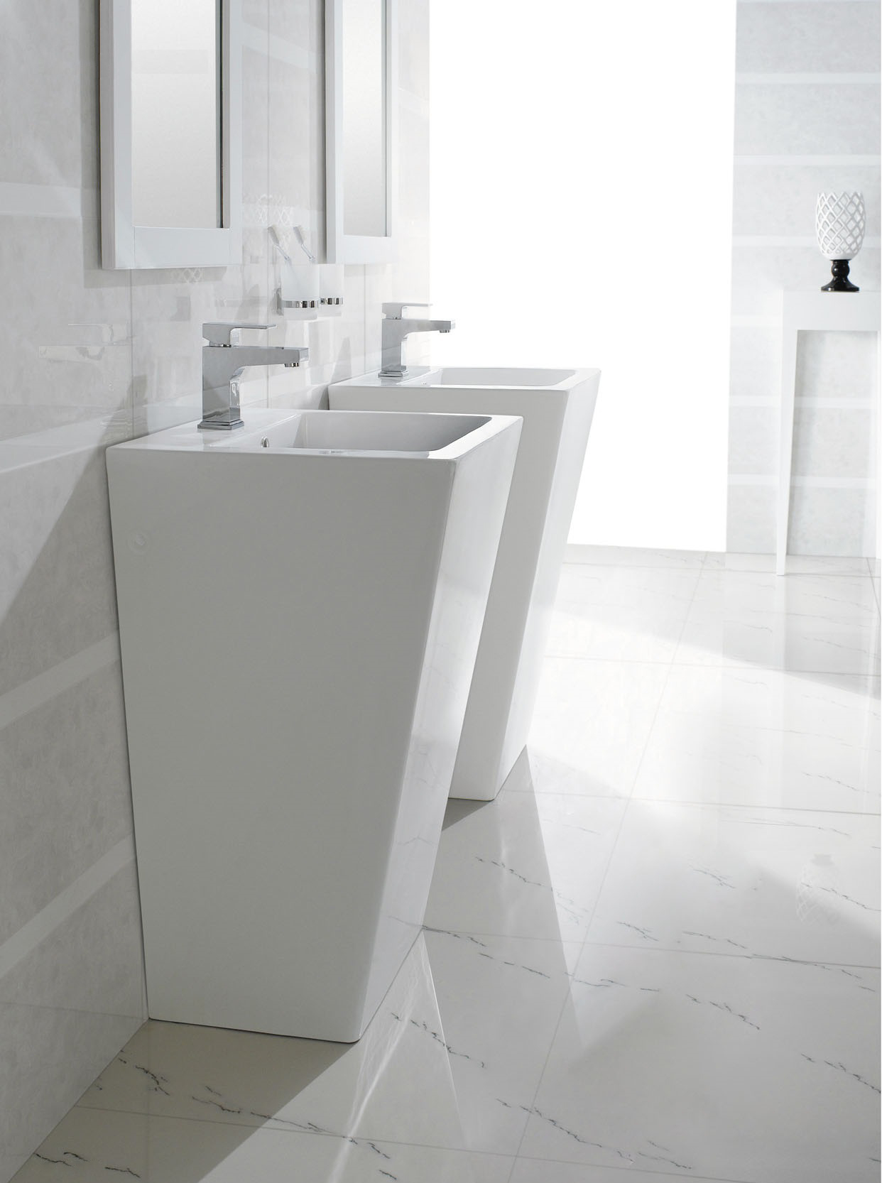 Modern Pedestal Sinks For Small Bathrooms : bathroom cabinets pedestal sinks bresica modern bathroom pedestal sink ...