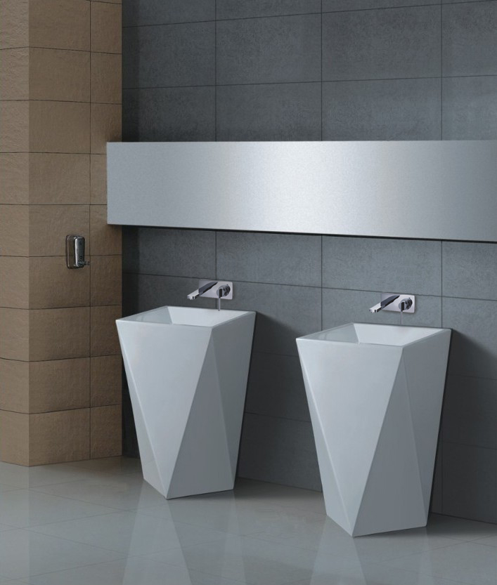 Modern Pedestal Sinks For Small Bathrooms : Maccione II - Modern Pedestal Sink