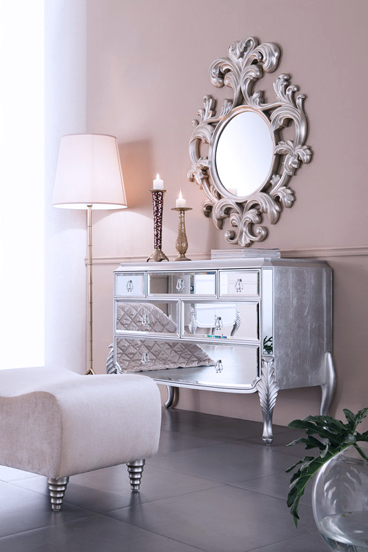 geneve decorative wall mirror large wall mirror silver finish - Large Designer Wall Mirrors