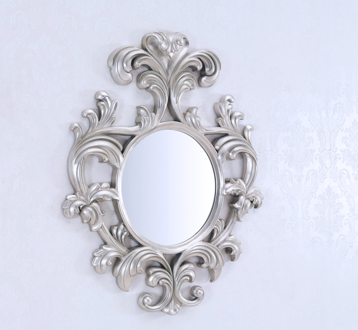 Decorative wall mirror large wall mirror geneve silver for Fancy mirror