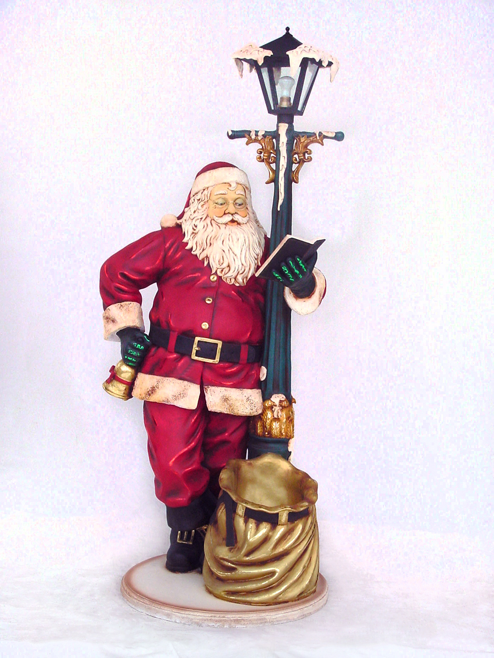 Santa claus with lamp post christmas decor life size 7ft for Santa decorations