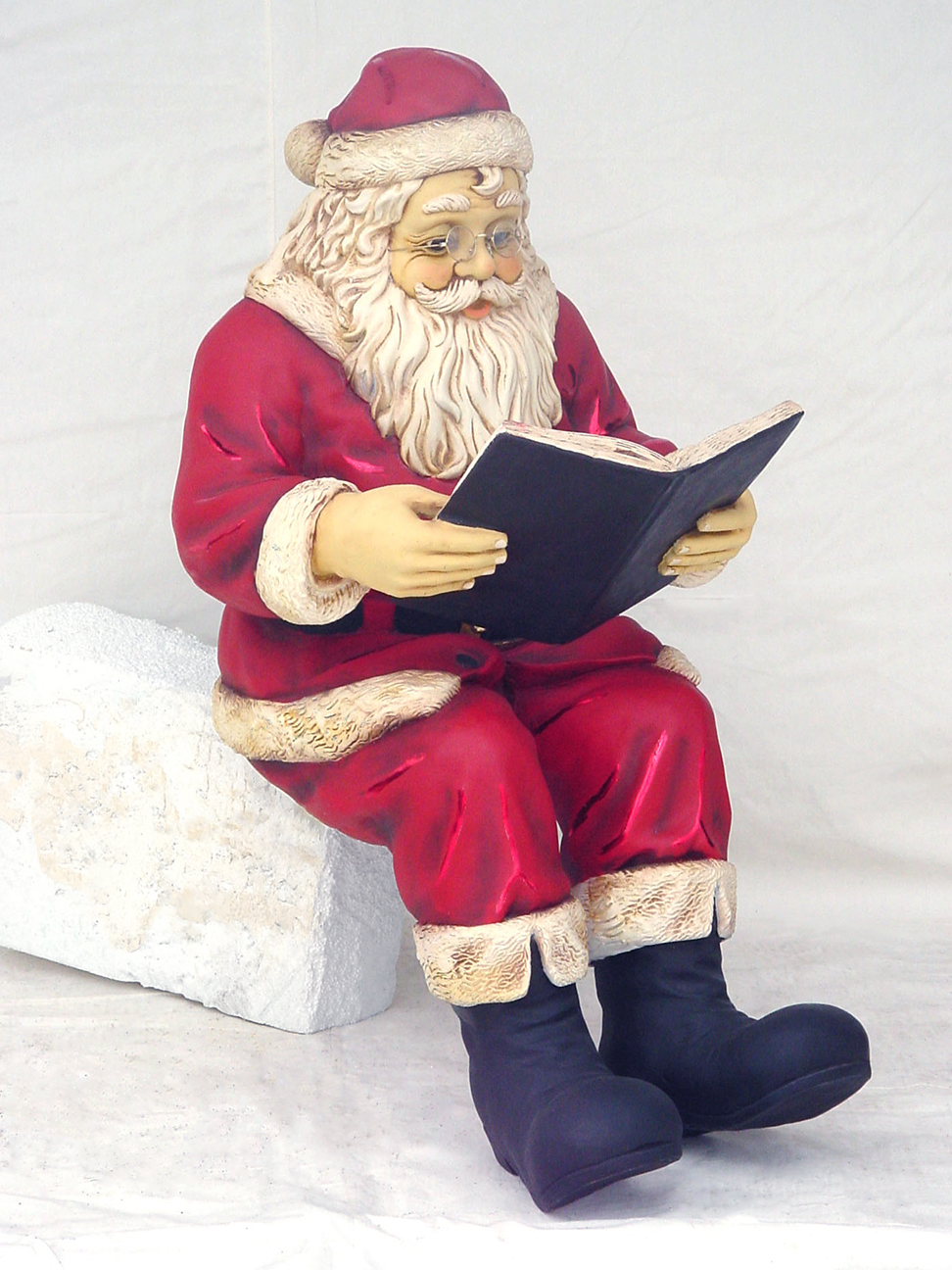 Santa claus sitting with book statue christmas decor 4ft for 4 ft santa claus decoration