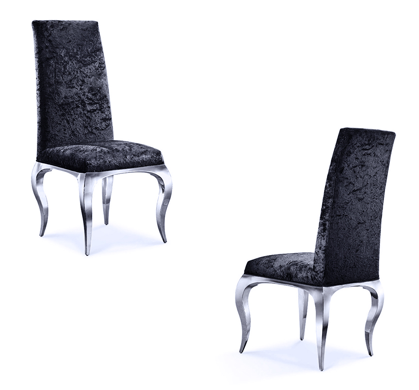 Fabulous Tricase Modern Dining Chair Upholstered In Crushed Black Velvet Caraccident5 Cool Chair Designs And Ideas Caraccident5Info