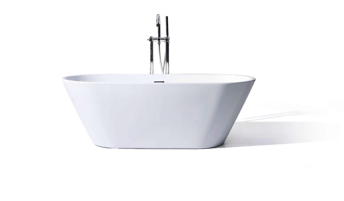 Vitale acrylic modern freestanding soaking bathtub 59 for Acrylic soaker tub