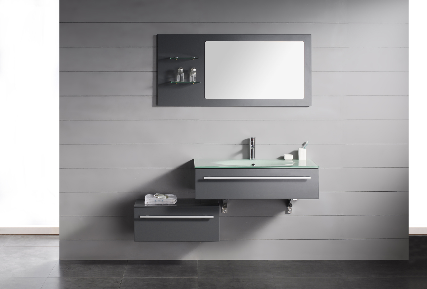 Modern bathroom vanity triton for Modern bathroom cabinets ideas