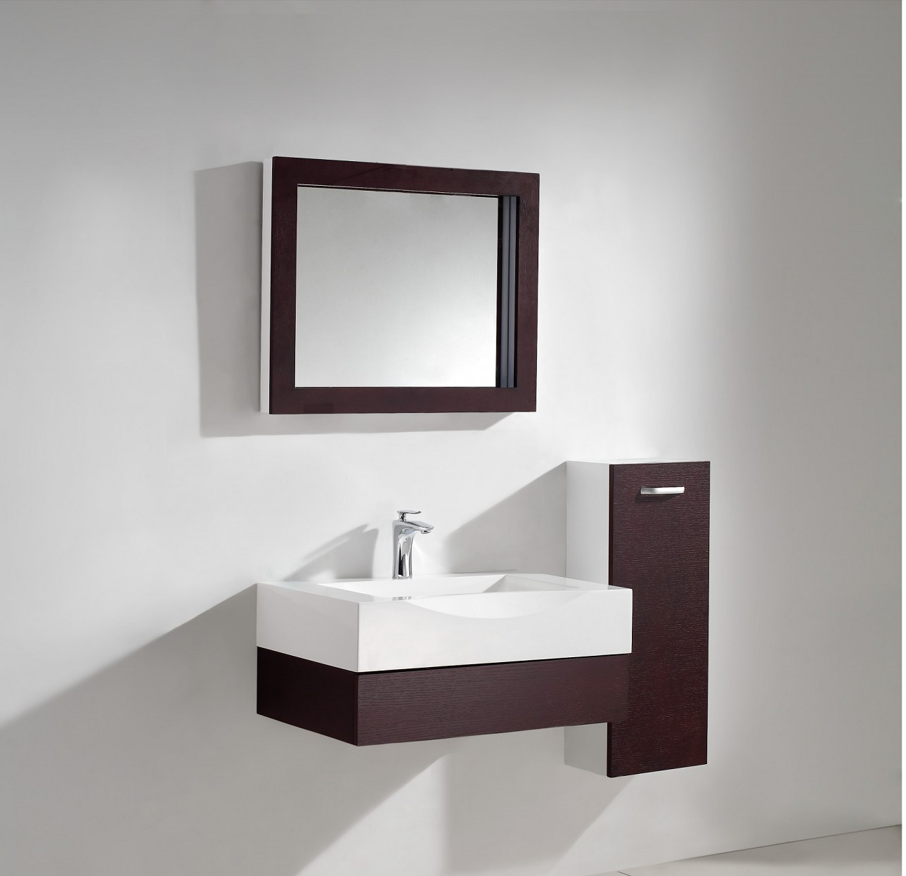 Aura Modern Bathroom Vanity Set with Side Cabinet and LED Mirror 29.5