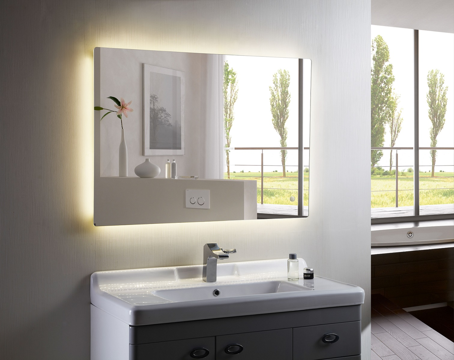 bathroom mirror backlit backlit mirror led bathroom mirror anzo iii 11003