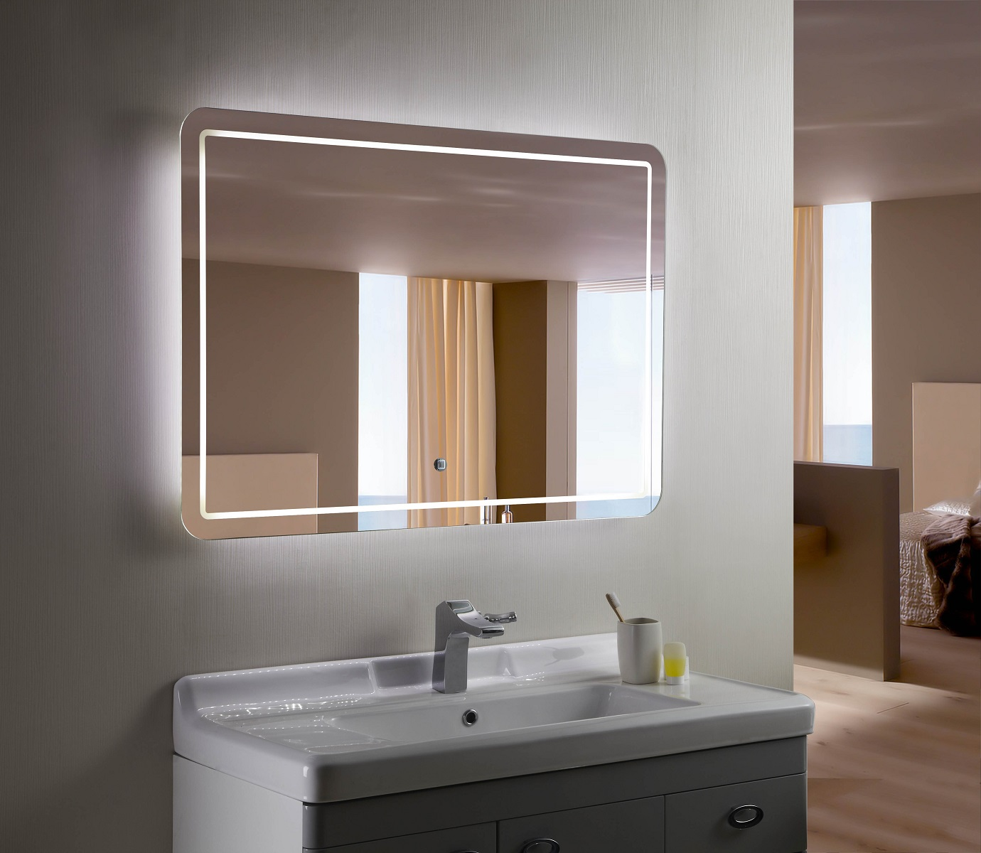 Bellagio ii backlit mirror led bathroom mirror horizontal Bathroom lighted vanity mirrors