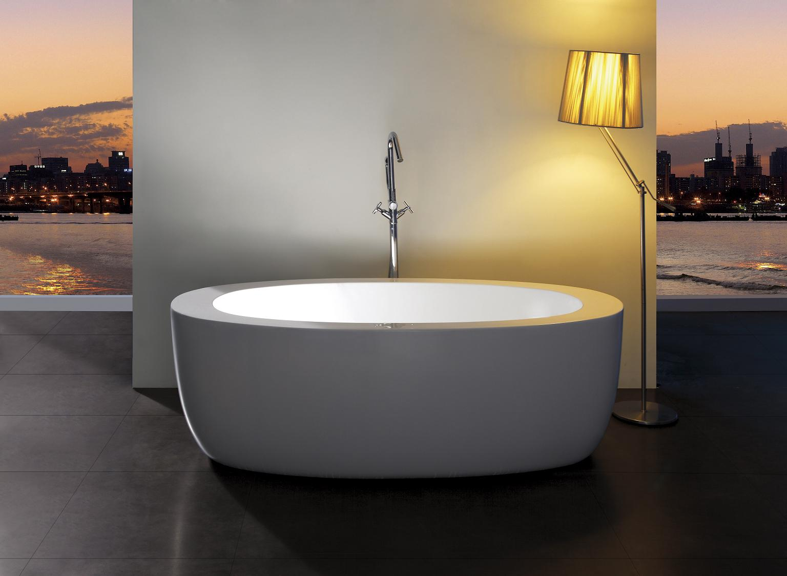 Anatolio acrylic modern freestanding soaking bathtub 69 for Acrylic soaker tub