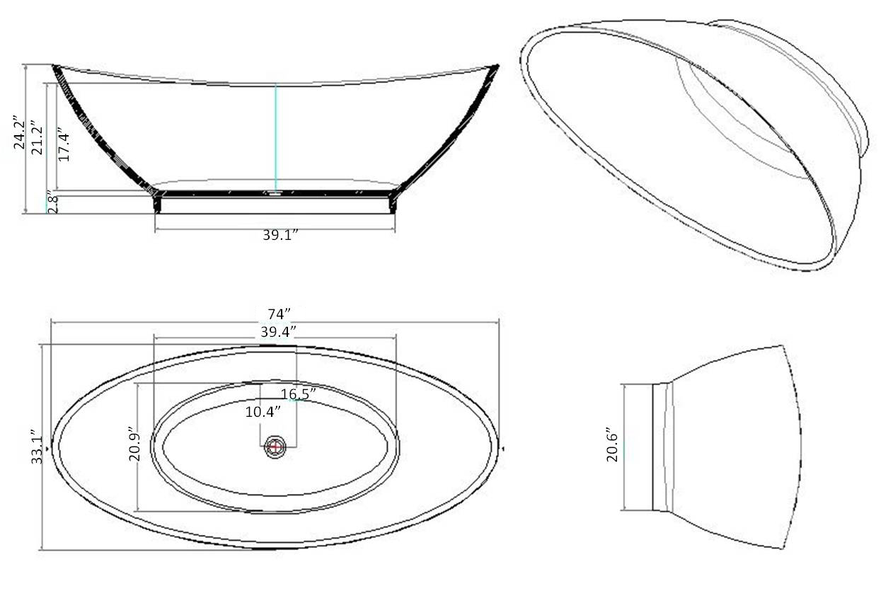 Esperia luxury modern bathtub 74 for Oval tub sizes