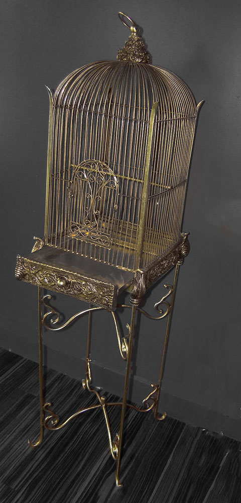 Decorative Bird Cage with Stand Conservatory Gold
